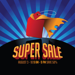 Super sale advertising template with cartoon sale tag wearing cape.