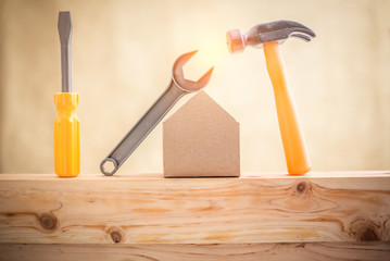Miniature house and tools