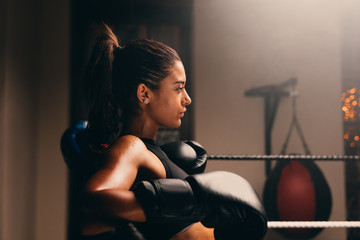 Side profile view of young female boxer in ring