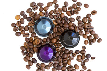 Italian coffee espresso capsules or coffee pods on white isolated background