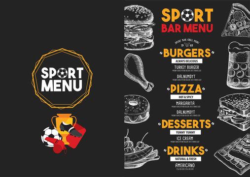 Menu sport bar restaurant, food template placemat.