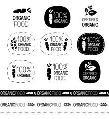 vector organic food signs