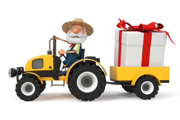 3d illustration the farmer with a tractor