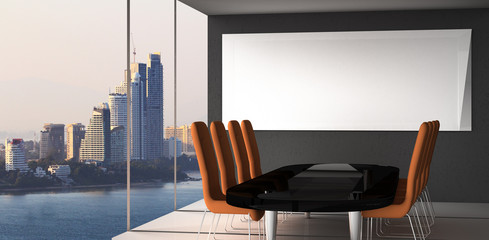Fotomurales - modern empty office interior with city background for business concept / 3D Rendering