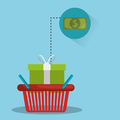 shopping red basket with gift box and money bill icon. colorful design. vector illustration