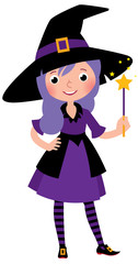 Girl in costume Halloween witch with a magic wand vector cartoon