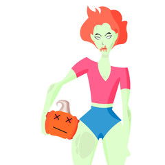 Evil zombie girl isolated on a white background