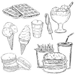 Vector Set of Sketch Snack Food