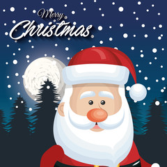 cute face santa claus card merry christmas landscape snaowfall vector illustration