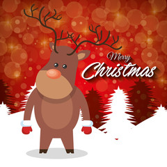 merry christmas card reindeer stand with red backgraound vector illustration