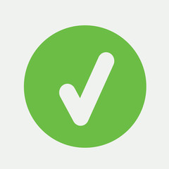 true correct yes correct sign mark icon simple green on white ba