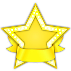 gold star award with ribbon