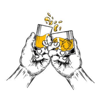 Vector illustration of two hands raised stemware