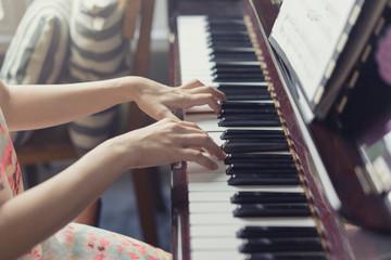 Piano musical tool, Close up of piano keyboard.