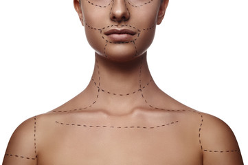 Female Model with dashed Line on Body and Face