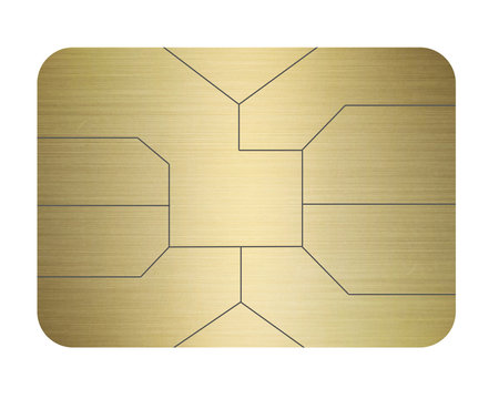 credit card chip gold isolated on white