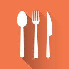 spoon fork knife icon. flat design