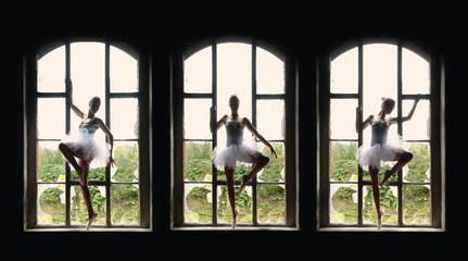 Multiple Image Of Ballerina Posing On Broken Window Sills
