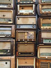 Full frame of retro styled radios