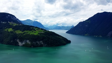 High Angle View Of Lake Lucerne Amidst Mountains