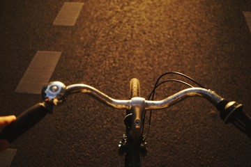 High Angle View Of Bicycle Handle On Street