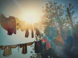 Laundry Hanging In Sunlight