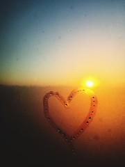 Heart Drawn On Condensed Window