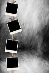 a series of photos on a clothespin