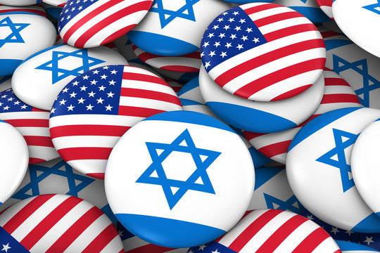 USA and Israel Badges Background - Pile of American and Israeli Flag Buttons 3D Illustration