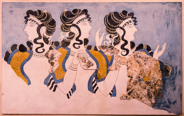 """Ladies in Blue"" fresco at Knossos Palace, minoan archaeological site in Crete, Greece"