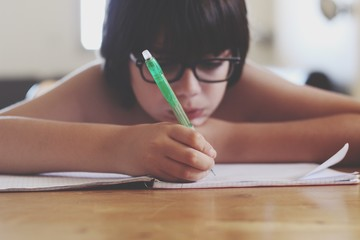 Cute Boy Writing In Book On Desk At Home