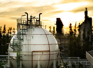 sphere gas storages in petrochemical plant