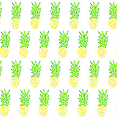 Drawn by acrylic paint yellow watermelon pattern on white background