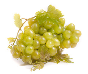 bunch of green grapes with leaf isolated on white background