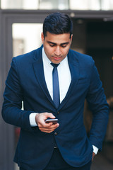 Young businesslike neat man. Rich look and appearance. Business fashion and style concept.