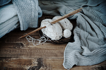 ball of yarn and knitting at home