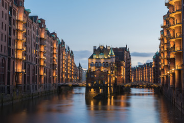 Hamburg, Germany - Popular Water Castle in the warehouse district Hamburg in the evening