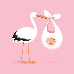 Stork carrying a cute baby girl. Child delivery by a white stork.