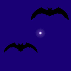 Vector illustration of bats and stars on holiday halloween, flat style