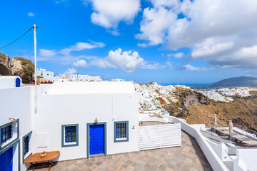 Typical white Greek house and view of beautiful Imerovigli villa