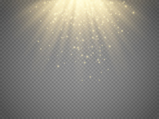 Light Effect Sun Rays Beams On Transparent Background Vector
