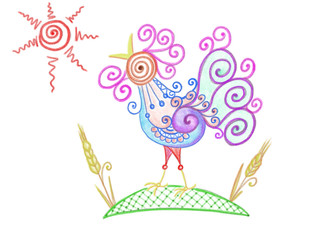 Colorful abstract rooster with sun and wheat drawn by pencil as symbol of New Year