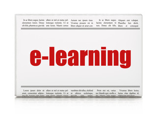 Studying concept: newspaper headline E-learning