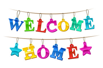 Colorful Welcome Home banner with tags