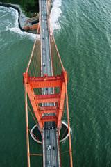 Overhead view of Golden Gate Bridge over San Francisco Bay