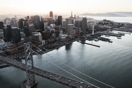 Aerial view of Bay bridge and cityscape