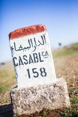 Straßenschild: Casablanca 158 km