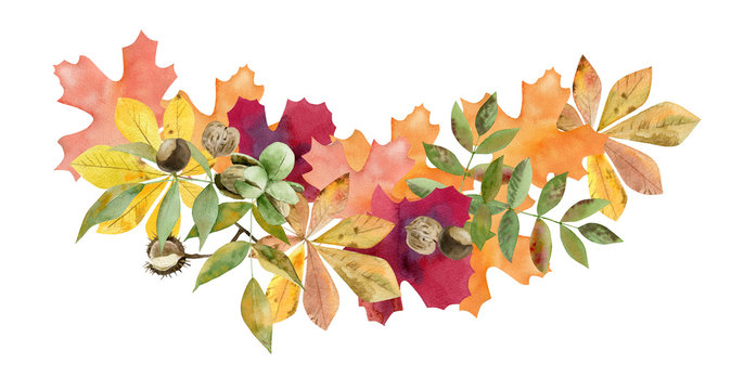 hand painted watercolor mockup clipart template of autumn leaves