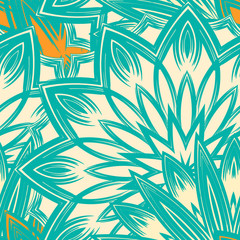 Seamless floral background. Tracery handmade nature ethnic fabric backdrop pattern with flowers. Textile design texture. Decorative color art. Vector.
