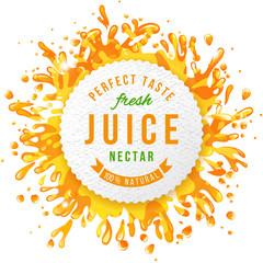 Paper emblem with juice splashes